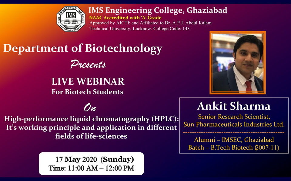 Webinar on HPLC: It's working principle and application in different fields of Life-sciences on  17 May 2020