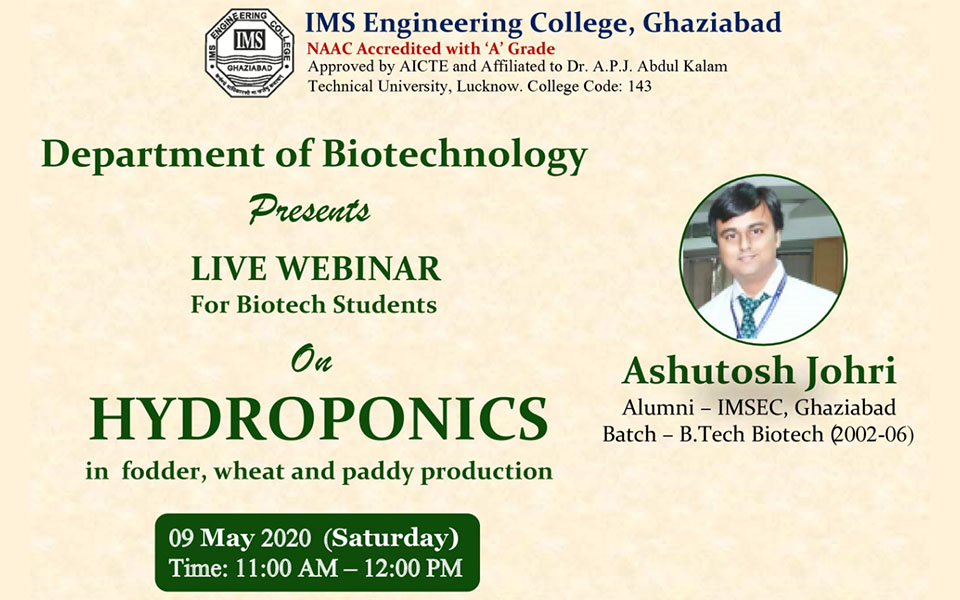 Webinar on HYDROPONICS in fodder, wheat and paddy production on 9 May 2020