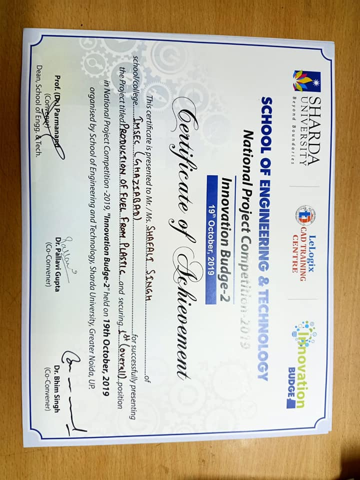 Best Innovation Award at Sharda University