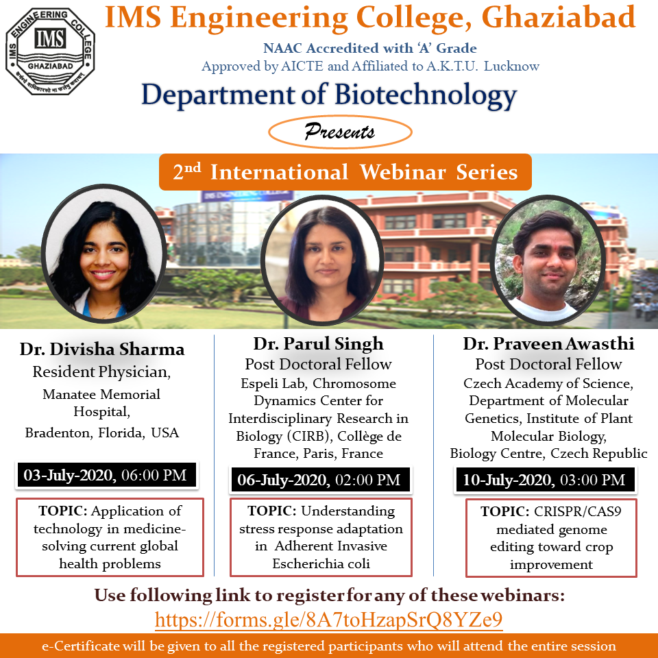 Second International Webinar Series from 3rd to 10th July 2020