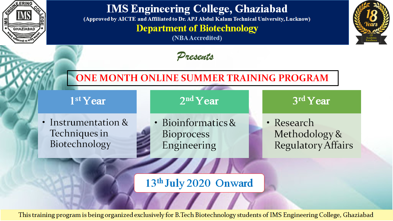 One-month online summer training program from 13th July onward