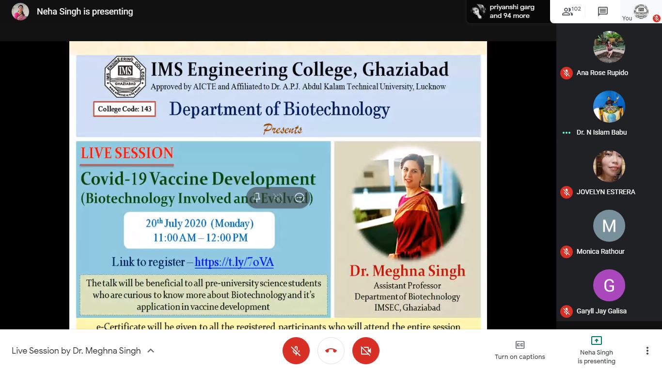 Webinar by Dr. Meghna Singh on 20th July 2020