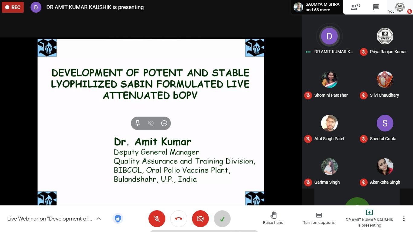 Webinar by Dr. Amit Kumar on 09th January 2021