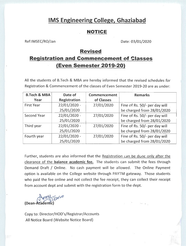 Registration and Commencement of Classes (Even Semester 2019-20)-Revised Notice