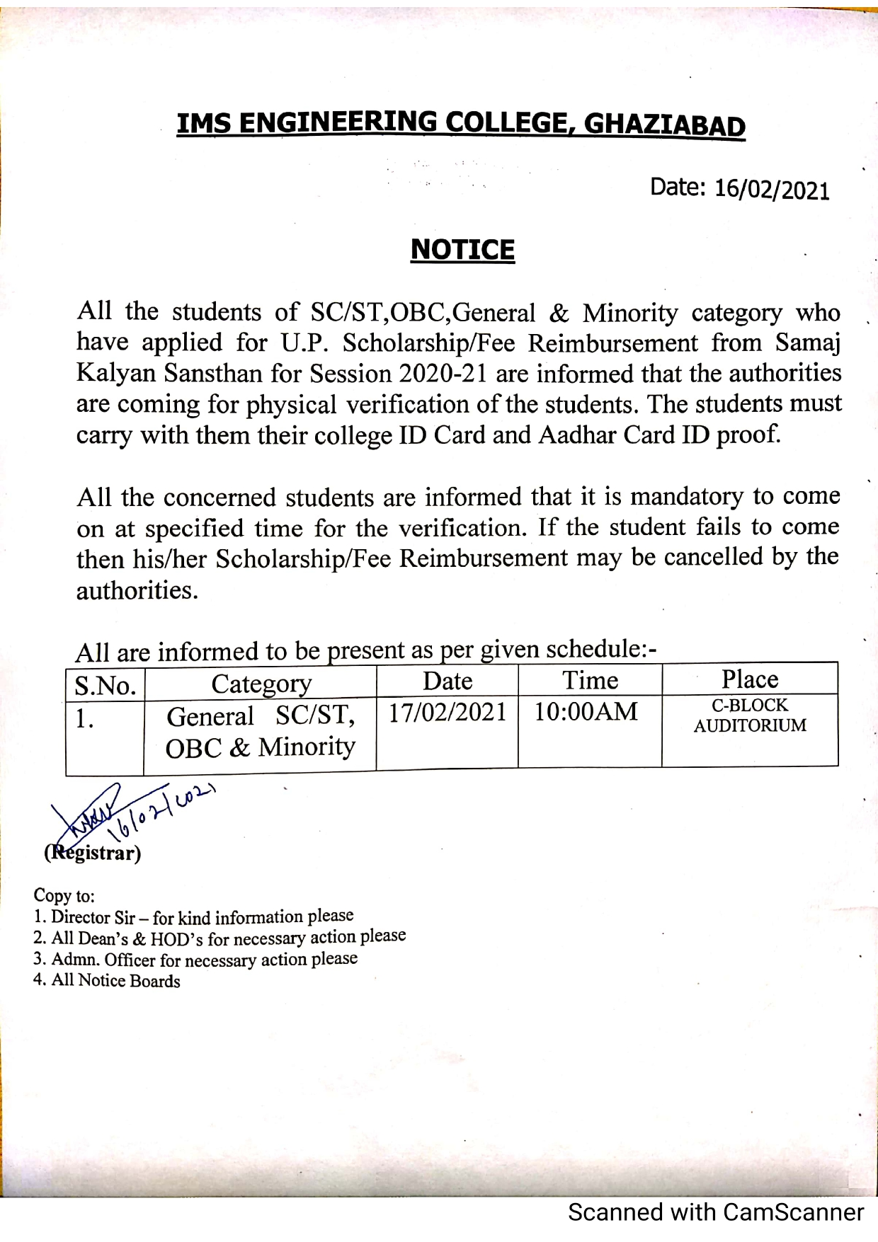 Notice for Physical Verification for scholarship (SC/ST/Minority/Gen/OBC Category)session 2020-21