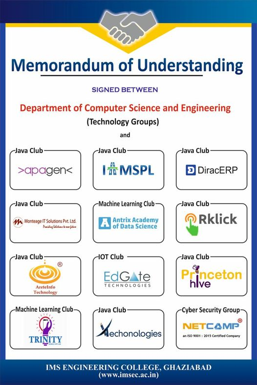 IMSEC have signed MoU with various reputed IT firms to enhance student's skill