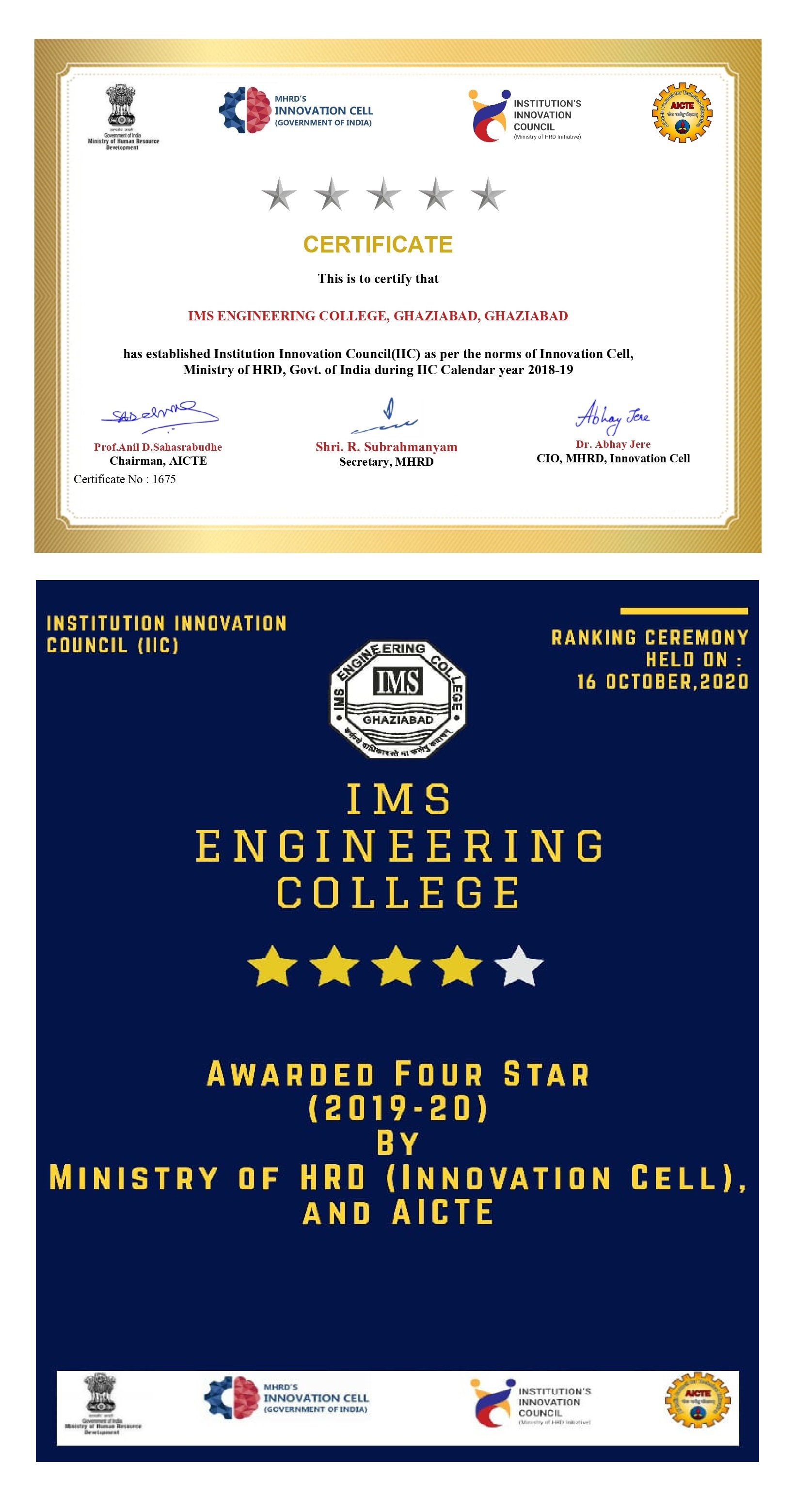 IIC Certificate Of Establishment awarded to IMSEC at First Annual Innovation Festival of MHRD Innovation Cell.